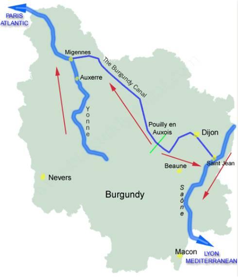 Canal De Bourgogne Carte.Map Of Canal De Bourgogne Jpg
